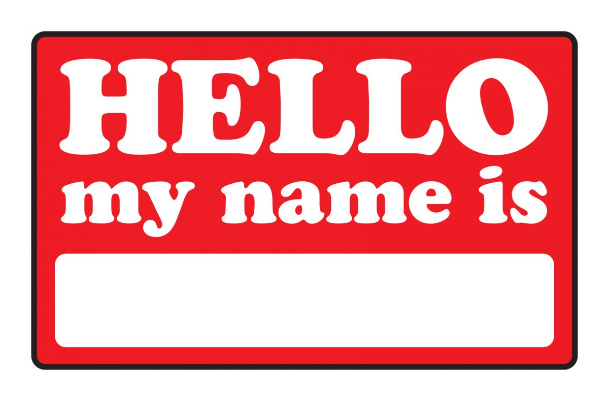 A blank name tag that says HELLO MY NAME IS represents a Lake Forest divorce attorney.