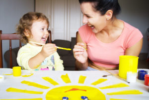 mother and child painting when you are selecting child custody rights with Chicago family law attorney